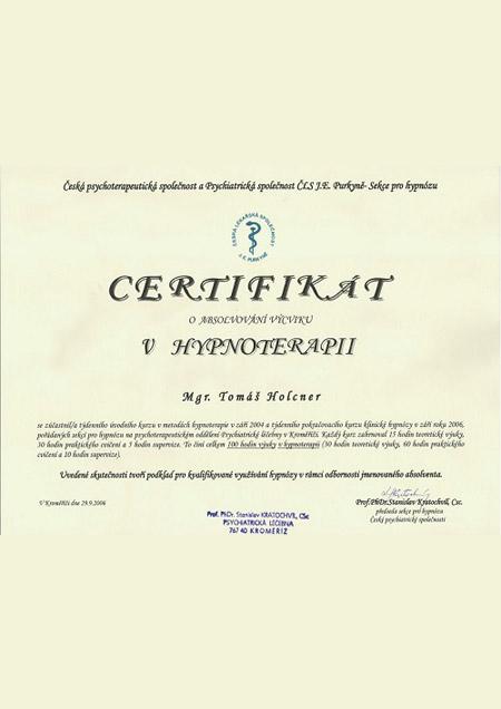Certifikát v hypnoterapii