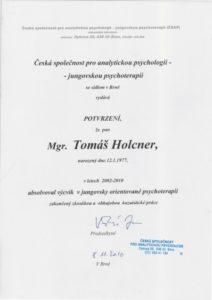 Certifikát jungovský psychoterapeut